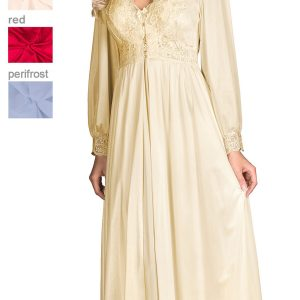 Shadowline Long Lace Bodice Button Down Robe 71737