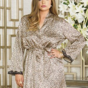 iCollection Long Sleeve Satin Robe 7831