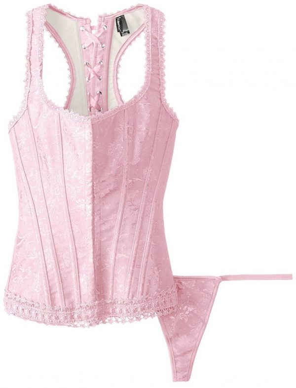 Brocade Racerback Corset with G-String at Belle Lacet Lingerie