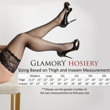 9371f4f105c GLAMORY Sizing Thigh Inseam. Glamory Deluxe 20 Thigh High Stockings 50111