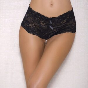 Lace and Open Crotch Pearl String Boy Short 7120