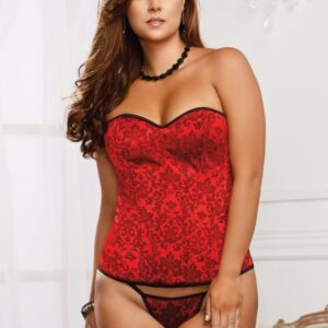 iCollection Victorian Brocade Padded Demi Cup Corset 7277X