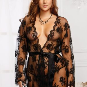iCollection Sheer Lace Robe 7815X