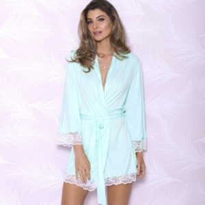 iCollection Modal Long Sleeve Robe with Lace Trim 7840