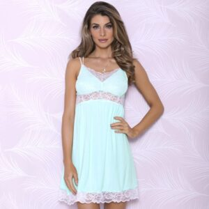 iCollection Modal Sleep Chemise with Lace Trim 7844