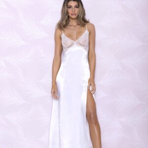 Long Satin Gown with Thigh High Slit 7846
