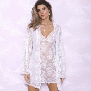 Allover Lace Robe with Scalloped Neckline 7855