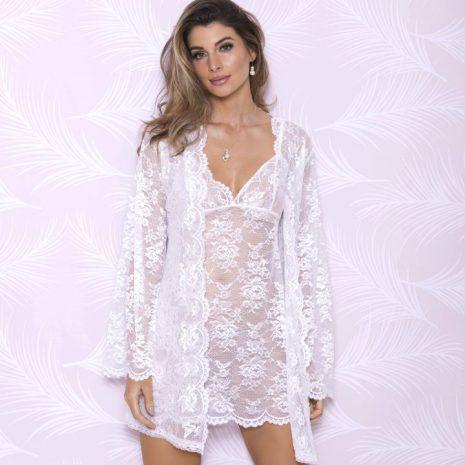 Allover Lace Robe with Scalloped Neckline 7855