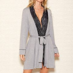 iCollection Women's Modal Shawl Lace Collar Robe | 7881