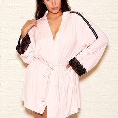 iCollection Womens Plus Size Modal Robe with Lace Trim Sleeves | 7876X