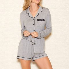 iCollection Womens Modal Button Down Short Set | 7883