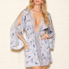 iCollection Womens Satin Cold Shoulder Robe | 7886