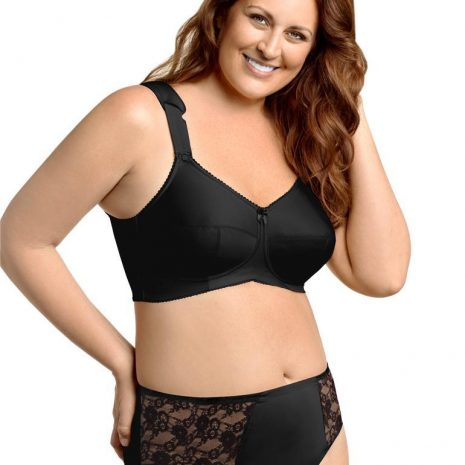 Full view of the Elila full coverage bra and panty set in black at Belle Lacet