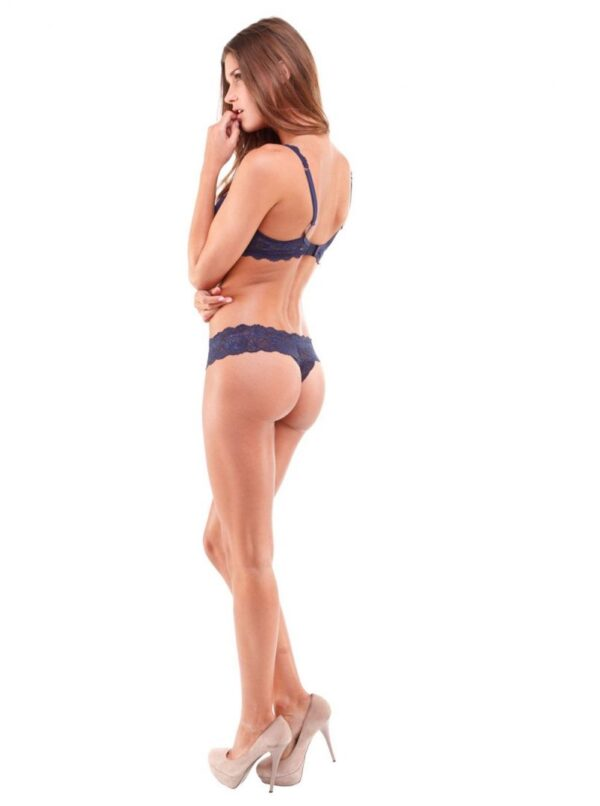 Cosabella Never Say Never Skimpie Lace G-String in Navy Blue