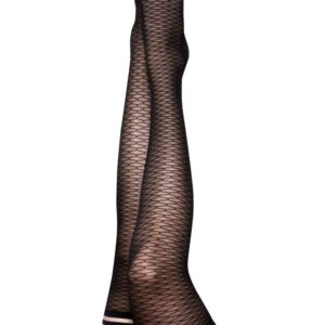 Kix'ies Beth Ann Black Honeycomb Thigh High Stockings 1301