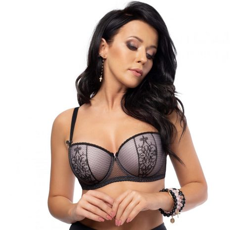 Aspen Black Lace Padded Balconette Bra K492