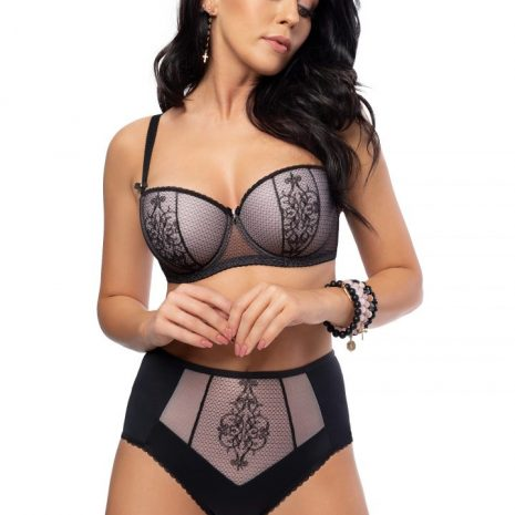 Aspen Black Lace Padded Balconette Bra K492 and High Waisted Brief K493