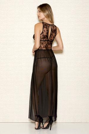 iCollection Long Velvet Mesh Gown 7887 back