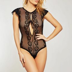 iCollection Sheer Lace Ruffled Sleeve Teddy 8572
