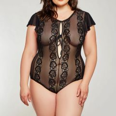 iCollection Sheer Lace Ruffled Sleeve Teddy 8572X