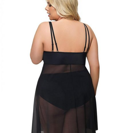 Gorsenia Paradise Sheer Lace Nightgown K499 plus back
