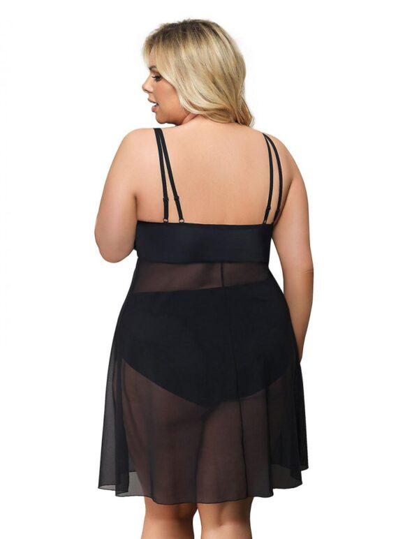 Gorsenia Paradise Sheer Lace Nightgown K499 plus back