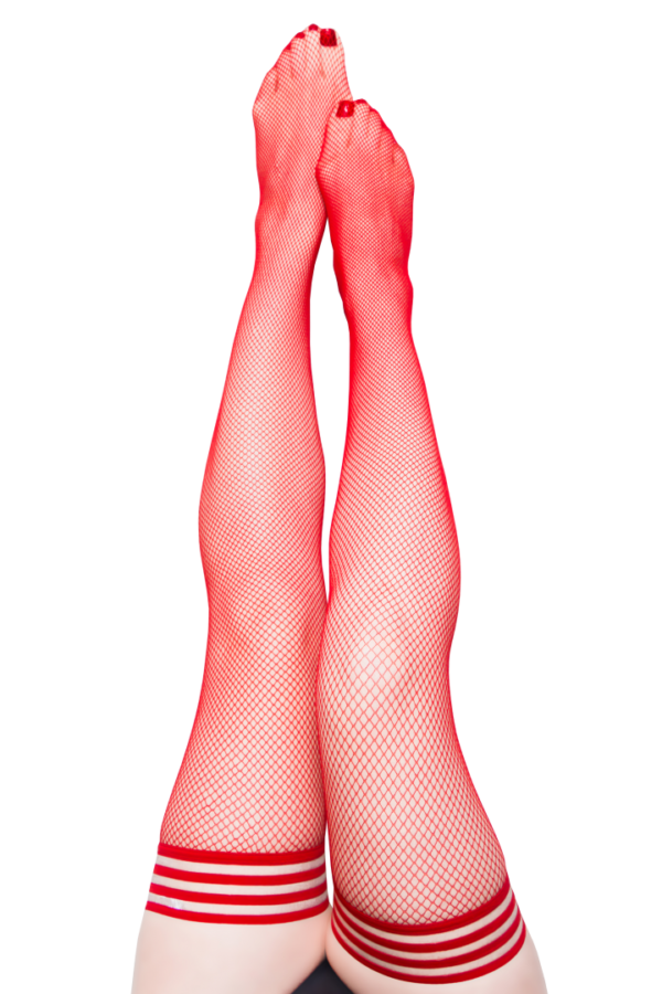 Kix'ies Sandra Red Fishnet Thigh High Stockings 1323