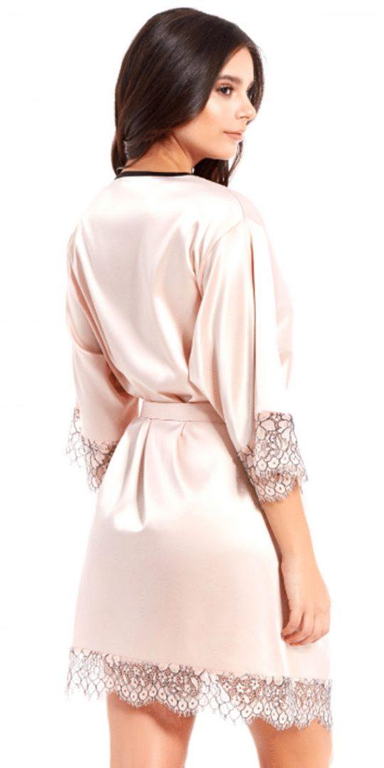 iCollection Satin & Eyelash Lace Robe 7918 back