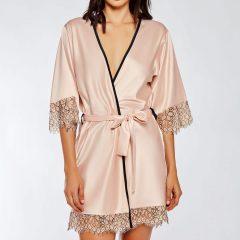iCollection Satin & Eyelash Lace Robe 7918