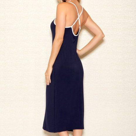 iCollection Long V-Neck Applique Modal Gown 7804
