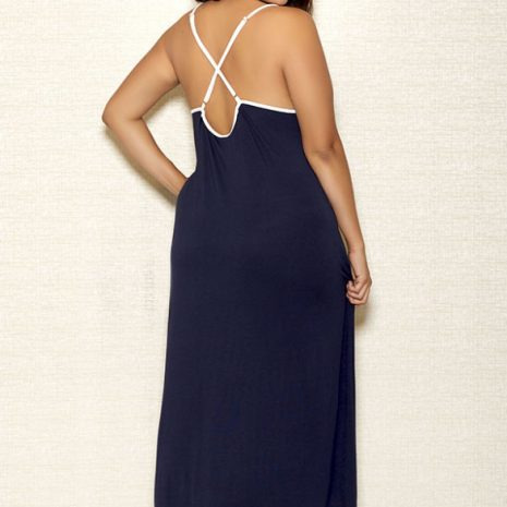 iCollection Long V-Neck Applique Modal Gown 7804x back