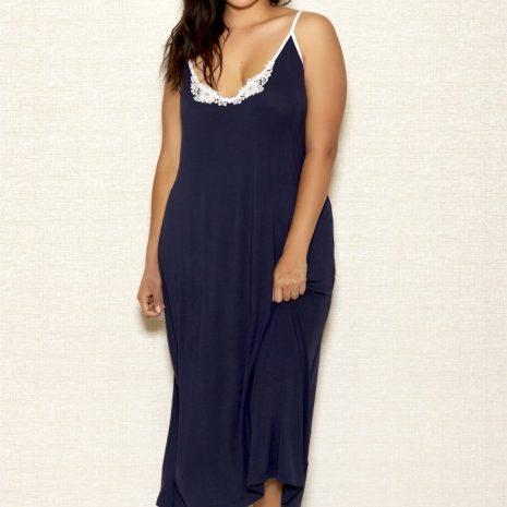 iCollection Long V-Neck Applique Modal Gown 7804X