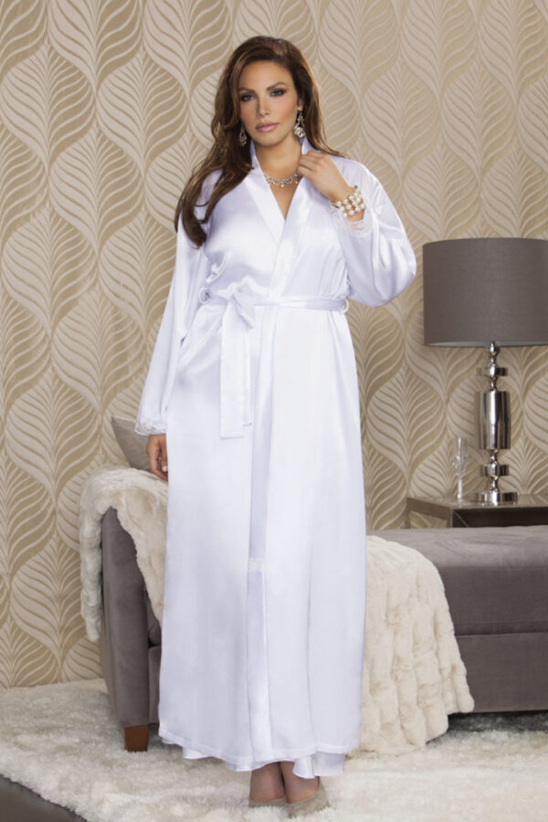 iCollection Long Satin Robe with Lace Trim Cuffs 7800X