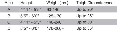Kixies Size Chart