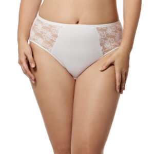 Elila Lace and microfiber panty 3503 in white at Belle Lacet Lingerie