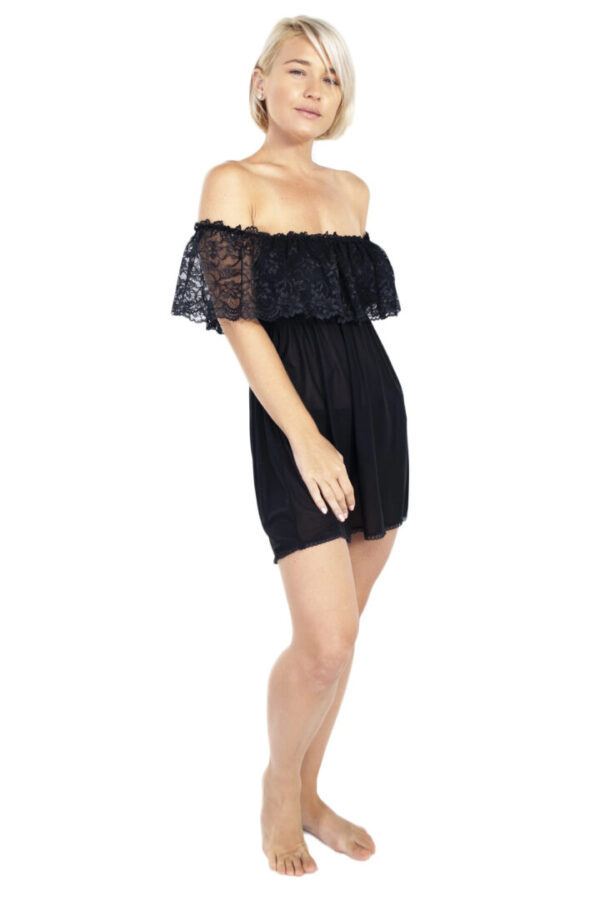 Off The Shoulder Nightie and Panty Set by Rhonda Shear at Belle Lacet Lingerie