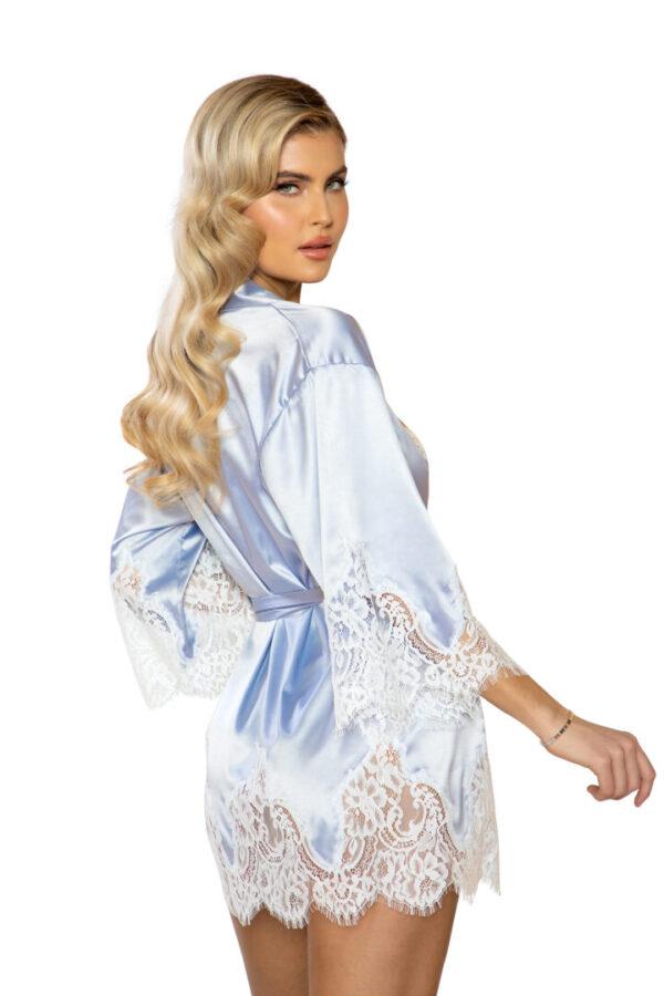 Elegant Cutout Eyelash Lace & Satin Robe in Silver/White at Belle Lacet Lingerie.
