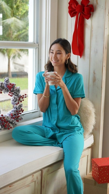 Lifestyle image of the BELLA Short Sleeve Pajama Top from Cosabella at Belle Lacet Lingerie