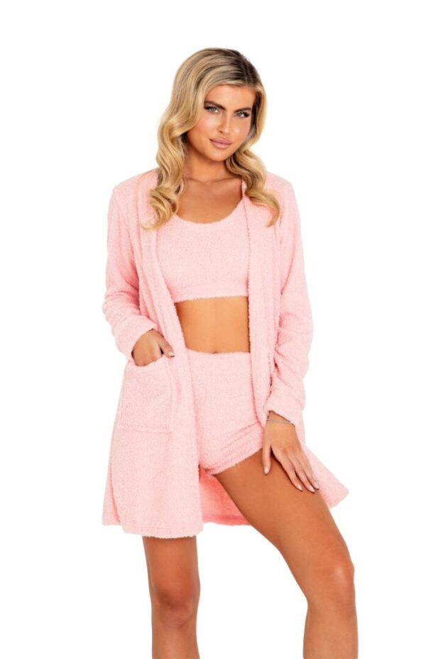 1pc Cozy & Comfy Fuzzy Robe with Pockets in pink at Belle Lacet Lingerie.
