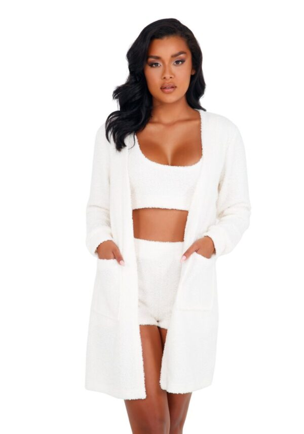 1pc Cozy & Comfy Fuzzy Robe with Pockets in white at Belle Lacet Lingerie.