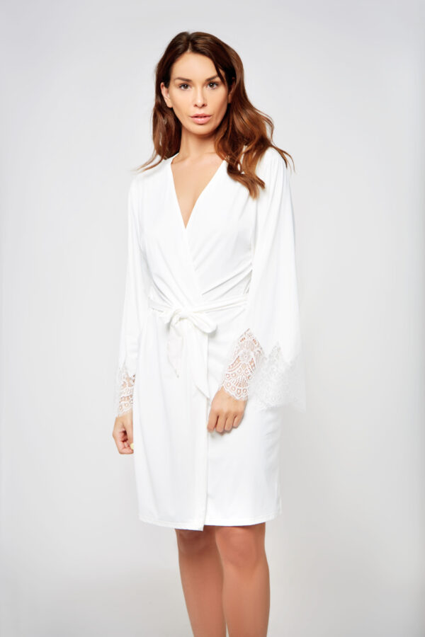 ARLENE Robe with Triangle Lace details at Belle Lacet Lingerie.