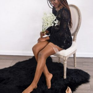 ANDIE Chocolate Fishnet Stockings from Kixies at Belle Lacet Lingerie.
