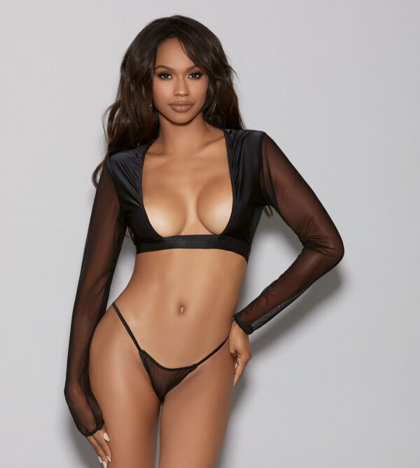 LINGERIZE Longsleeve Top with G-String at Belle Lacet Lingerie
